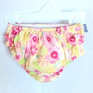 i Play. Baby Girl Snap Swim Diaper, Floral, 12m
